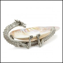 Cup with structure in metal in silver plated finish and with natural polished big shell cup 162-Dragon Shell