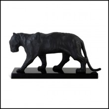 Sculpture all in blackened casted metal on glossy solid wooden base 119-Black Matt Panther