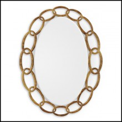 Miroir avec cadre en bois massif sculpté à la main finition Gold antique 119-Chain Antique Gold