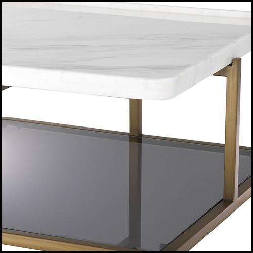 Miroir avec cadre hexagonal en bois massif noirci laqué avec structure en laiton poli et morceaux de marbre 169-Turtle