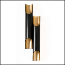 Wall lamp with black matt steel body and in gold powder painted inside 151-Flute Double