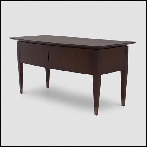 Table d'appoint ronde avec structure en laiton vieilli brossé et plateau en marbre Nero Marquina 155-Arcade