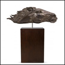 Sculpture in beaten solid copper on solid wooden base 119-Gallop