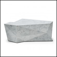 Coffee table with structure in hollowed engineered wood and coated with white marble 119-Parade White