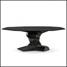 Dining table with wood structure lacquered with a translucent black tone with high gloss varnish 145-Jungle Black