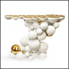 Console table composed by metallic spheres and semi spheres in white varnish aluminium and gold or black finish 145-Spheres