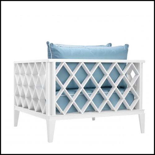 Chaise longue avec structure en bois massif recouverte de velours de coton vert 169-British Green