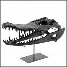 Sculpture with structure in resin in black finish on black finish metal base 162-Croco Skull