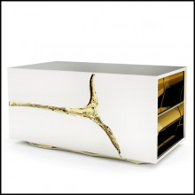 Nightstand or side table with poplar root veneer structure inside and covered with polished stainless steel 145-Paradise