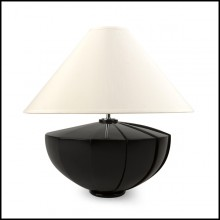 Table Lamp with solid black lacquered mahogany wood base and off-white lamp shade 119-Black Shell