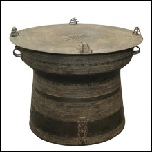 Rain Drum in solid bronze blackened from Cambodia temples 38-Rain Drum 2