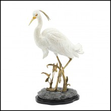 Sculpture in hand painted porcelain with legs and details in solid brass 162-Porcelain Heron