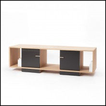 Sideboard TV with structure in 100% solid oak from French sustainable forest 112-Low Oak Double TV