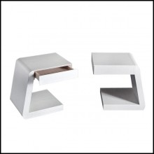 Side table with structure in solid wood and covered with high quality genuine white leather 150-Extand