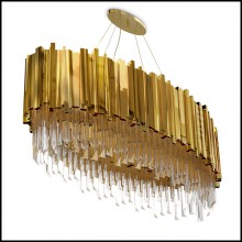 Chandelier with crystal glass pendants and big ring of gold plated polished brass 164-Ambassador Oval