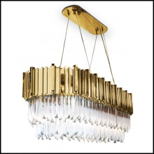 Chandelier with big long oval ring of gold-plated polished brass and crystal glass pendants 164-Ambassador Long Oval