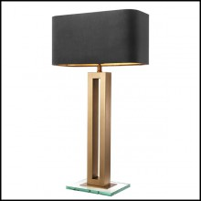 Table lamp with structure in antique brass finish and clear glass base 24-Gap