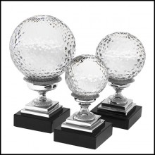 Set of 3 clear glass balls with nickel finish structure and granite base 24-Glass Balls Nickel