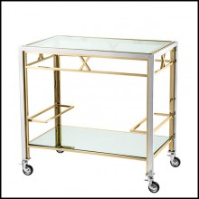 Trolley with structure in polished stainless steel in gold finish 24-Helena