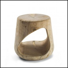 Stool in solid natural aromatic cedar wood 154-Cavity