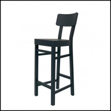 Bar stool with structure in solid beechwood in black matte finish 30-Black Wooden