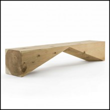 Bench made from a single solid cedar wood block 154-Diamant