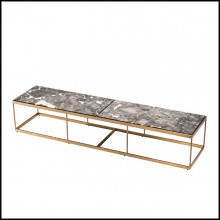 Coffee table with structure in brushed brass finish stainless steel and grey marble top 24-Quiz