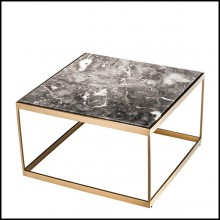 Side table with structure in brushed brass finish stainless steel and grey marble top 24-Quiz