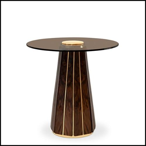 Table d'appoint avec structure en acier inoxydable finition laiton brossé et plateau en marbre gris 24-Quiz