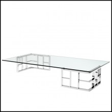 Coffee table with structure in polished stainless steel and clear glass top 24-Caner