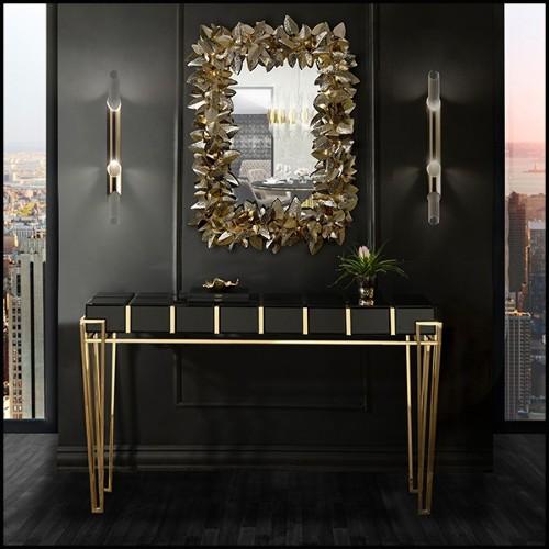 Table basse avec structure en acier inoxydable poli et plateau en verre clair 24-Caner