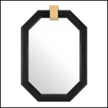 Mirror with frame in black finish solid mahogany wood 24-Emble