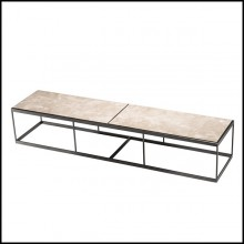 Coffe table with structure in bronze finish stainless steel and beige marble top 24-Quiz