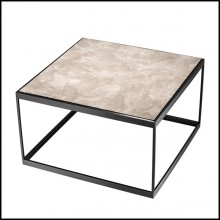 Side table with structure in bronze finish stainless steel and beige marble top 24-Quiz