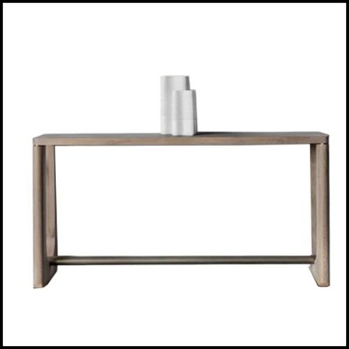 Table d'appoint avec structure en acier inoxydable finition bronze et plateau en marbre beige 24-Quiz
