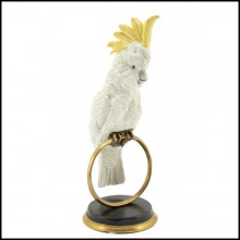 Sculpture in hand painted white porcelain with brass details 162-Parrot on Ring.