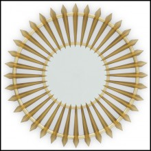 Mirror with structure in solid carved mahogany wood with gold paint 119-Turbine Gold