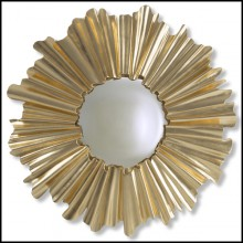 Miroir en bois d'acajou massif sculpté à la main peinture dorée ou argentée antique 119-Fluted Gold