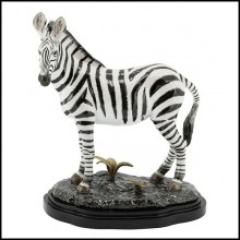 Sculpture all hand-painted in white porcelain with brass details 162-Zebra