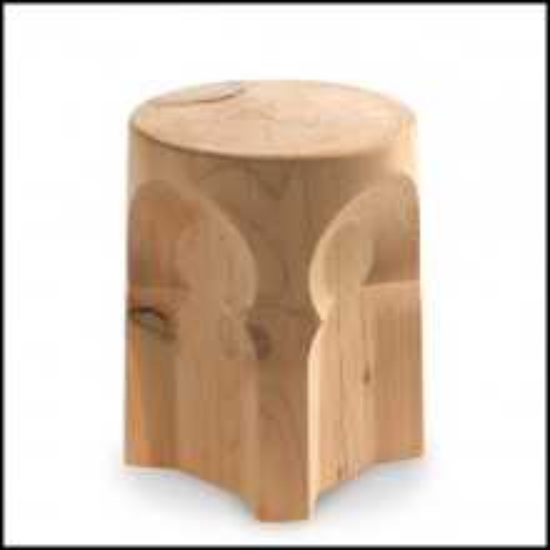 Stool in solid natural aromatic cedar wood 154-Riad Cedar