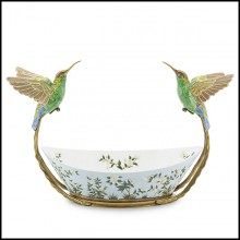 Bowls hand-painted in white porcelain with a bronze frame 162-Birds Porcelain