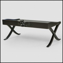 Tray in solid hand-carved mahogany wood in black lacquered finish 119-Black Mahogany
