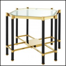 Side table with structure in gold or polished stainless steel finish and bevelled clear glass top 24-Napoli