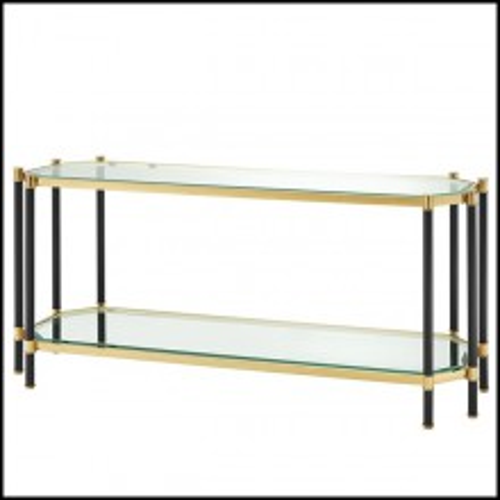 Console avec structure en acier inoxydable finition Gold et noir et plateau en verre clair biseauté 24-Napoli