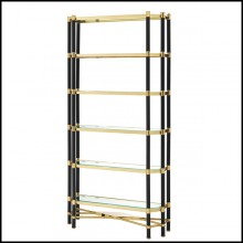 Cabinet with structure in gold or polished and black finish stainless steel and bevelled clear glass shelves 24-Napoli