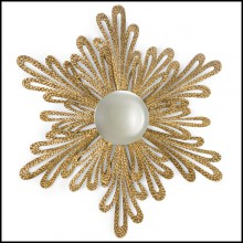 Mirror with structure in solid wood and with round center convex mirror 119-Gold Flower