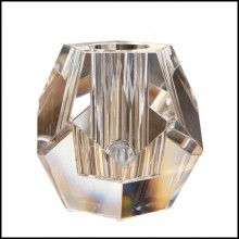 Candle holder in carved crystal glass 24-Crystal Candle Prism