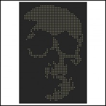Panel in black plexiglass exceptionnal piece PC-Skull Gun Bullets