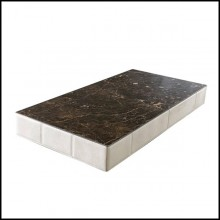 Rectangular coffee table with padded leather and wooden structure with marble top 150-Walter A