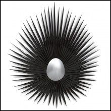 Mirror with solid hand carved wood frame in black lacquer finish 119-Sea Urchin